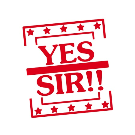 sir: Yes sir red stamp text on squares on white background