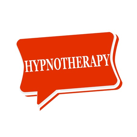hypnotherapy: HYPNOTHERAPY multicolored text on red Speech bubbles