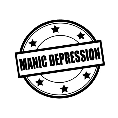manic: MANIC DEPRESSION black stamp text on circle on white background and star