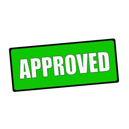 wording: approved wording on rectangular Green signs Stock Photo