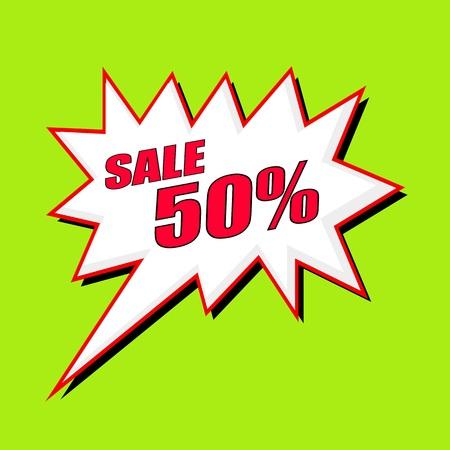 50: Sale 50 percent wording speech bubble