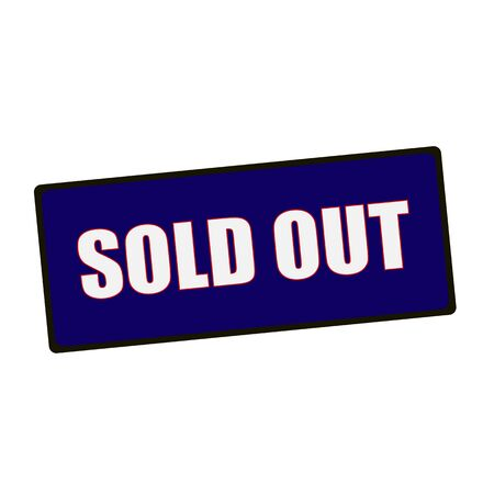 wording: sold out wording on rectangular Green signs Stock Photo