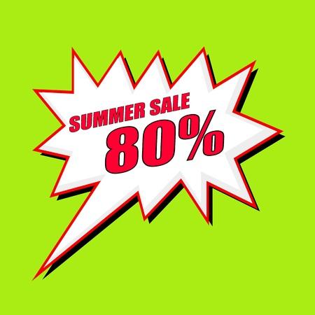 80: Summer Sale 80 percent wording speech bubble Stock Photo
