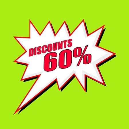 60: Discounts 60 percent wording speech bubble