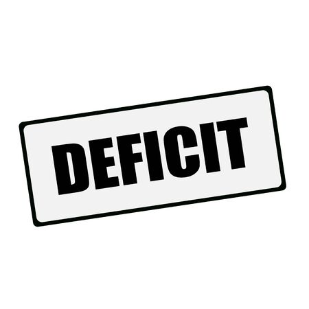 deficit: DEFICIT wording on rectangular signs Stock Photo