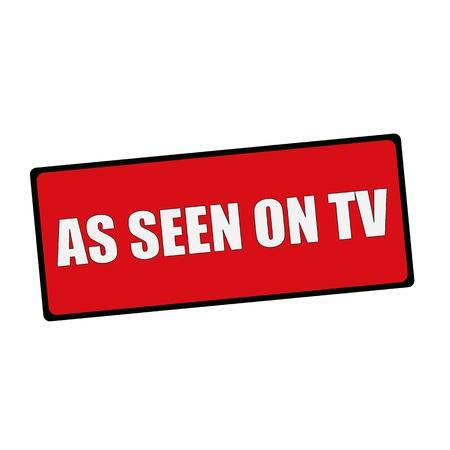 COMME VU SUR TV libellé sur les panneaux rectangulaires