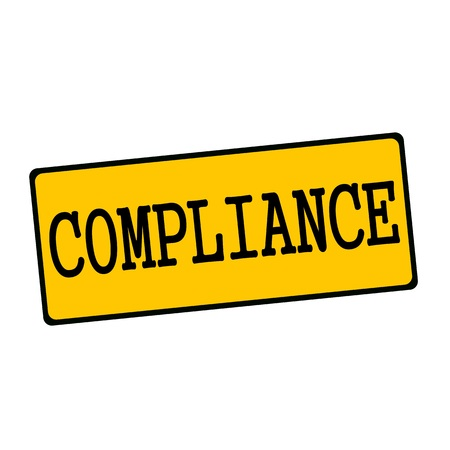 compliance: COMPLIANCE wording on rectangular signs Stock Photo
