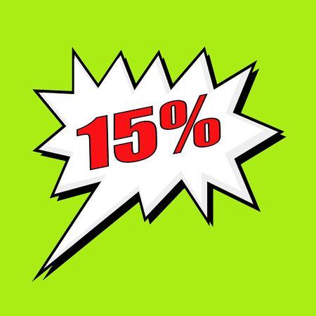 15: 15 percent wording speech bubble