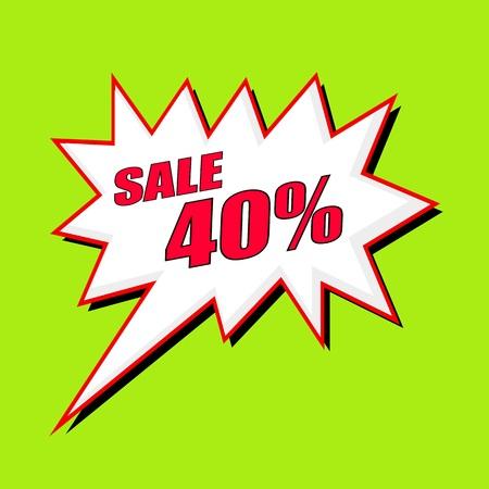 40: Sale 40 percent wording speech bubble