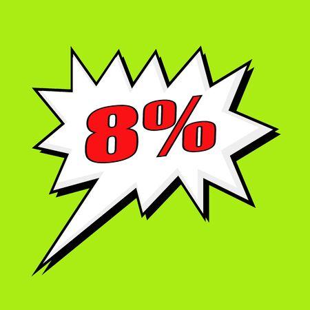 eight: eight percent wording speech bubble