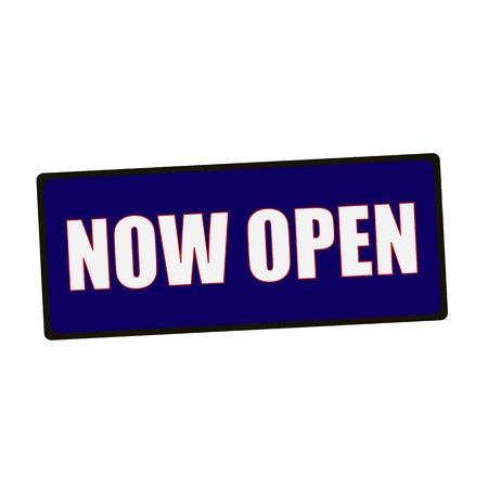 wording: now open wording on rectangular Green signs Stock Photo