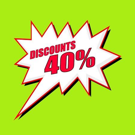 40: Discounts 40 percent wording speech bubble Stock Photo