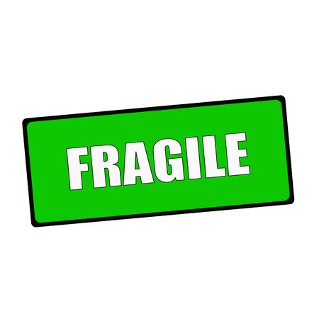 wording: fragile wording on rectangular Green signs Stock Photo