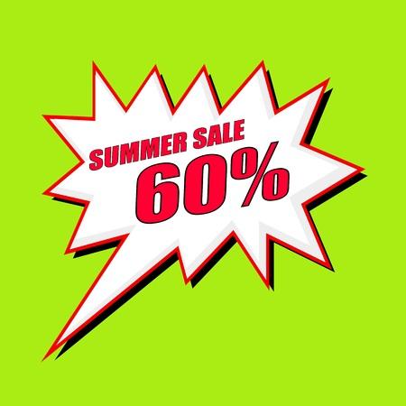 60: Summer Sale 60 percent wording speech bubble