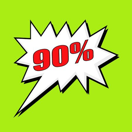 90: 90 percent wording speech bubble Stock Photo