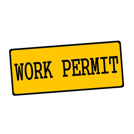 permit: work permit wording on rectangular signs Stock Photo