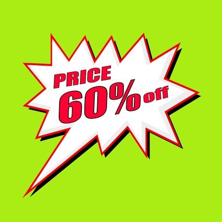 60: price 60 percent wording speech bubble Stock Photo