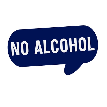 no alcohol: NO ALCOHOL wording on Speech bubbles blue cylinder