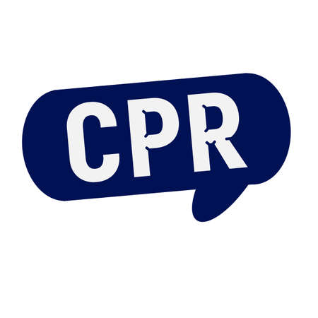 cpr: CPR wording on Speech bubbles blue cylinder