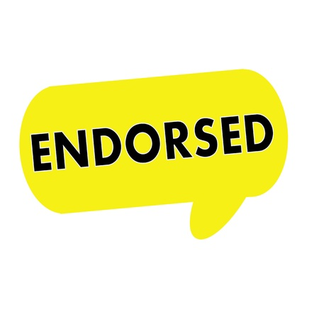 endorsed: ENDORSED wording on Speech bubbles yellow rectangular
