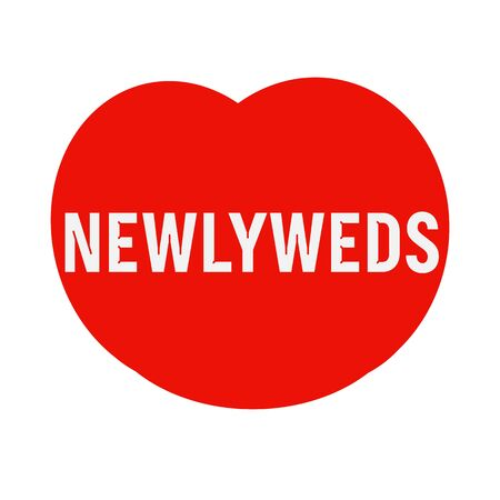 wording: newlyweds wording on Red Heart Stock Photo