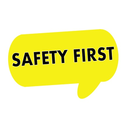 safety first: SAFETY FIRST wording on Speech bubbles yellow rectangular Stock Photo