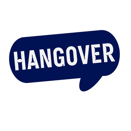 the hangover: Hangover wording on Speech bubbles blue cylinder