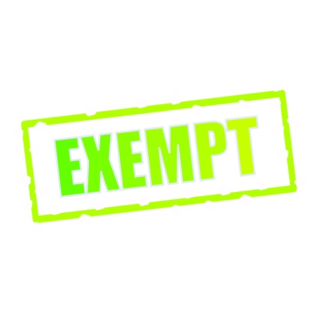 exempt: EXEMPT wording on chipped green rectangular signs