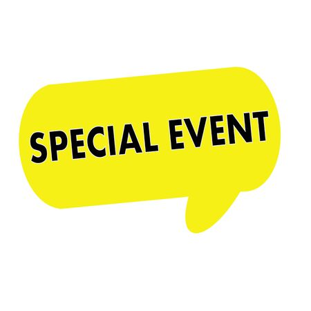 special event: SPECIAL EVENT wording on Speech bubbles yellow rectangular Stock Photo