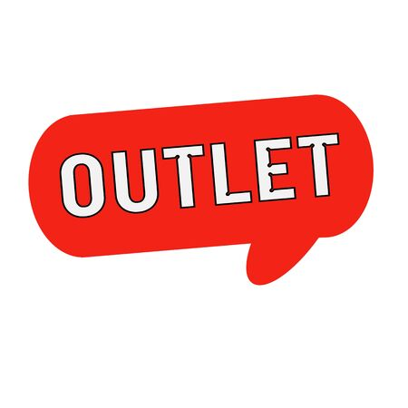 wording: outlet wording on Speech bubbles red cylinder Stock Photo