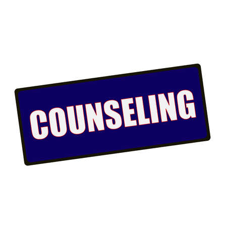 wording: COUNSELING wording on rectangular Green signs Stock Photo