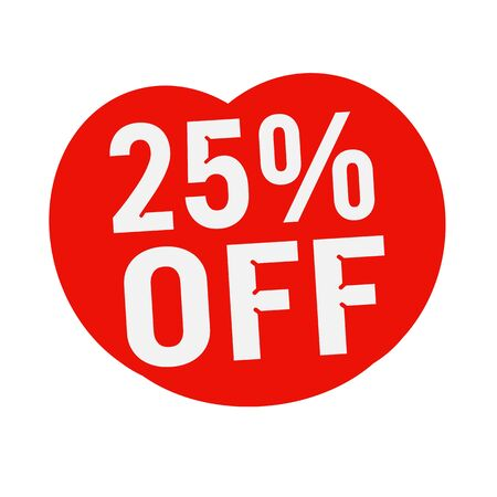 wording: 25 percent OFF  wording on Red Heart