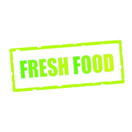 chipped: fresh food wording on chipped green rectangular signs Stock Photo