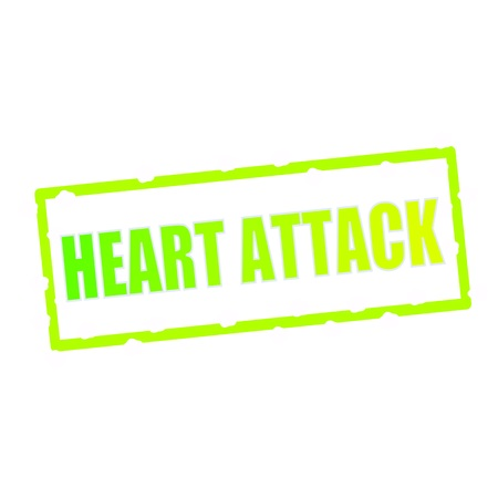 heart attack: Heart Attack wording on chipped green rectangular signs
