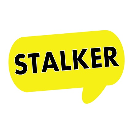 stalker: STALKER wording on Speech bubbles yellow rectangular