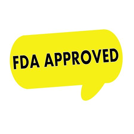 fda: FDA Approved wording on Speech bubbles yellow rectangular Stock Photo