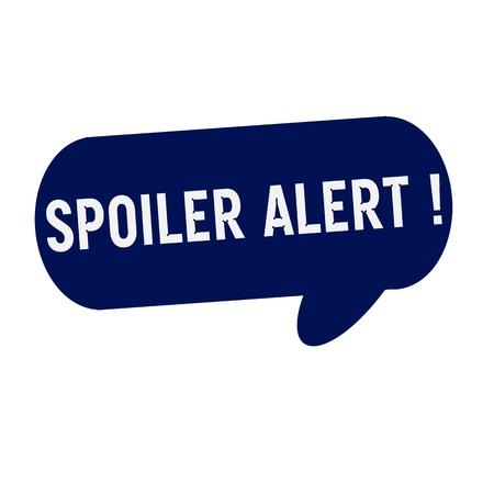 spoiler: Spoiler alert wording on Speech bubbles blue cylinder Stock Photo