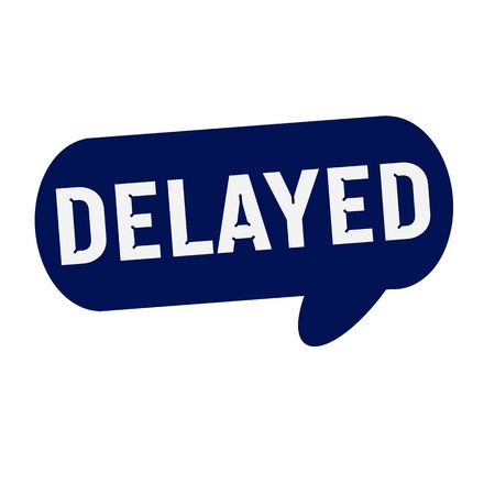 delayed: Delayed wording on Speech bubbles blue cylinder