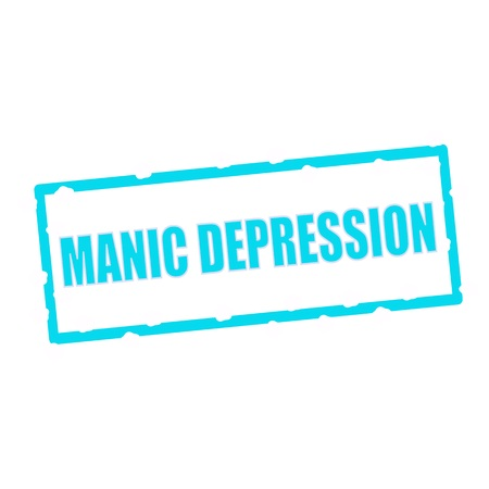 manic: MANIC DEPRESSION wording on chipped Blue rectangular signs
