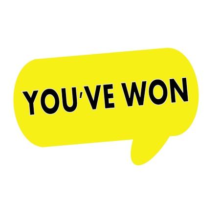 won: YOUVE WON wording on Speech bubbles yellow rectangular Stock Photo