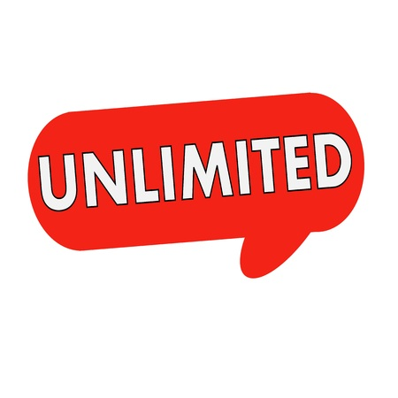 unlimited: unlimited wording on Speech bubbles red cylinder Stock Photo