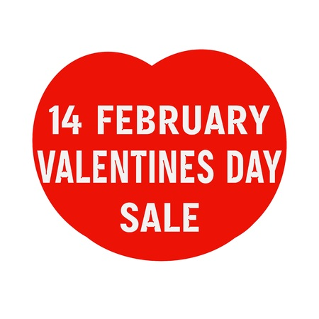 14 of february: 14 february Valentines Day sale wording on Red Heart Stock Photo