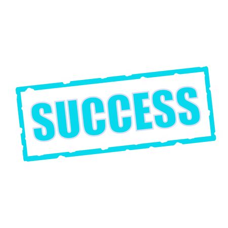 chipped: success wording on chipped Blue rectangular signs Stock Photo