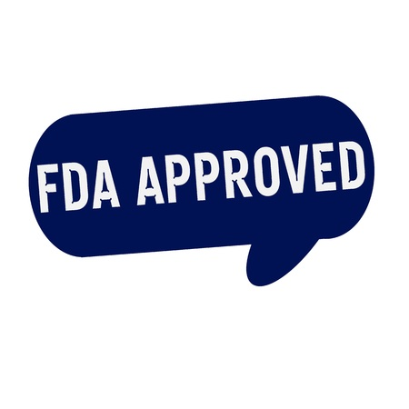 fda: FDA Approved wording on Speech bubbles blue cylinder