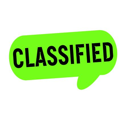 classified: classified wording on Speech bubbles green cylinder Stock Photo