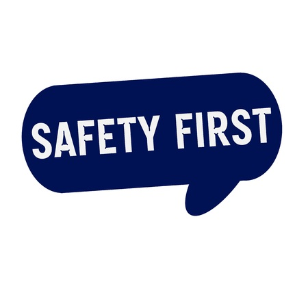 safety first: SAFETY FIRST wording on Speech bubbles blue cylinder Stock Photo