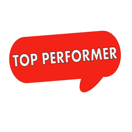 performer: top performer wording on Speech bubbles red cylinder
