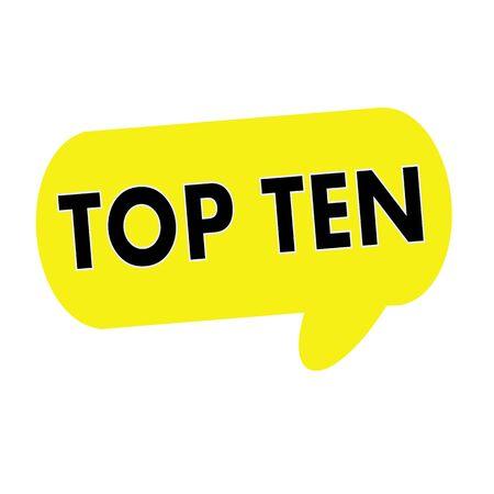 top ten: TOP TEN wording on Speech bubbles yellow rectangular Stock Photo