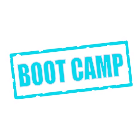 chipped: boot camp wording on chipped Blue rectangular signs Stock Photo