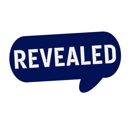 revealed: REVEALED wording on Speech bubbles blue cylinder Stock Photo